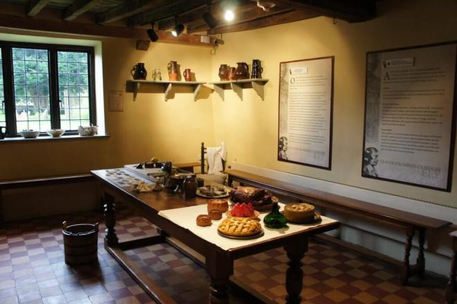 The kitchen at the Oliver Cromwell House Museum