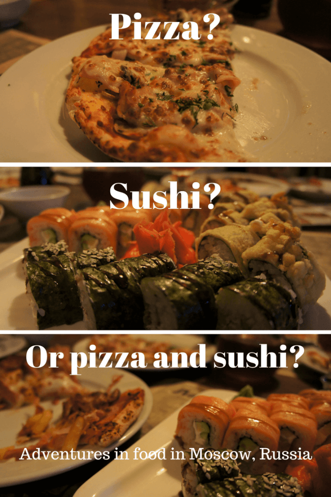 What to order when you dine at an Italian restaurant in Moscow, Russia - pizza, sushi, sausages, beer and pasta.