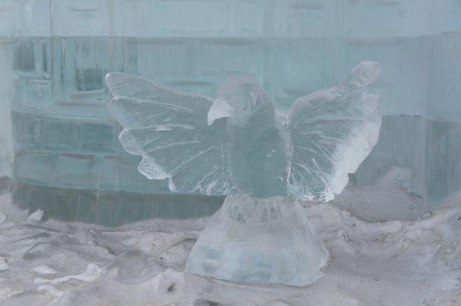 Ice crow at the Ice Festival Poklonnaya Hill Moscow