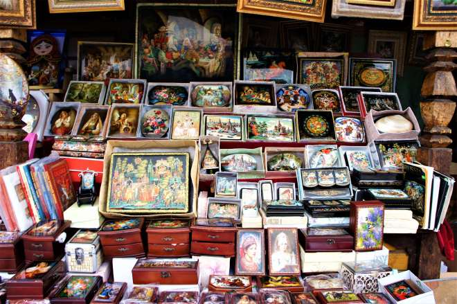 Lacquer boxes in Ismailovsky Souvenir Market in Moscow