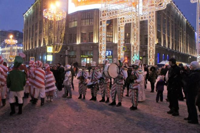 Band on Tverskaya Street for the Moscow New Year Street Party