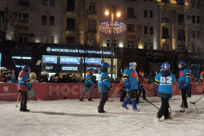 Ice Hockey on Tverskaya Street for the Moscow New Year Street Party