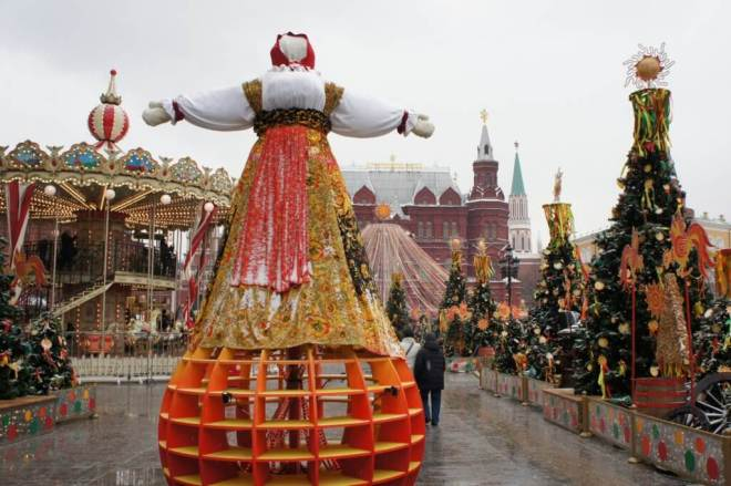 Lady Maslenitsa near Red Square Moscow