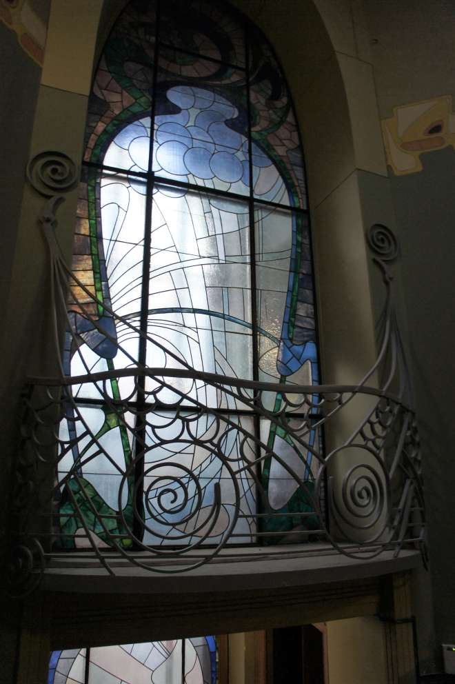 Art Nouveau owl window at the Shekhtel House in Moscow