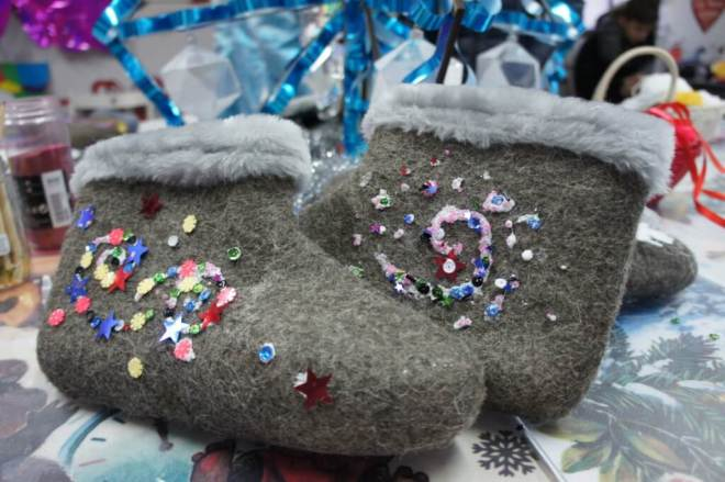 Russian winter felt books called valenki, which have been decorated with sparkles and sequins and similar