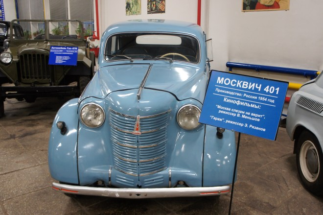 A blue Moskvich car from the film Moscow Doesn't Believe in Tears