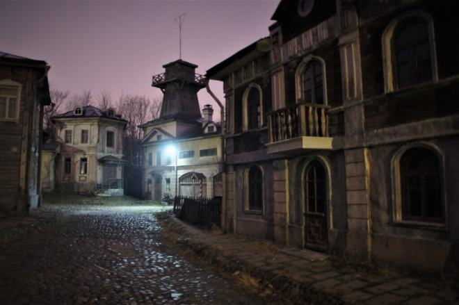 Old Moscow set MosFilm Studio, with cobbled streets and old crumbing buildings on either side