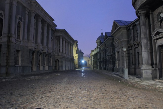 Street set with classical old buildings on either side of a cobbled street at MosFilm Studio, a film studio in Moscow