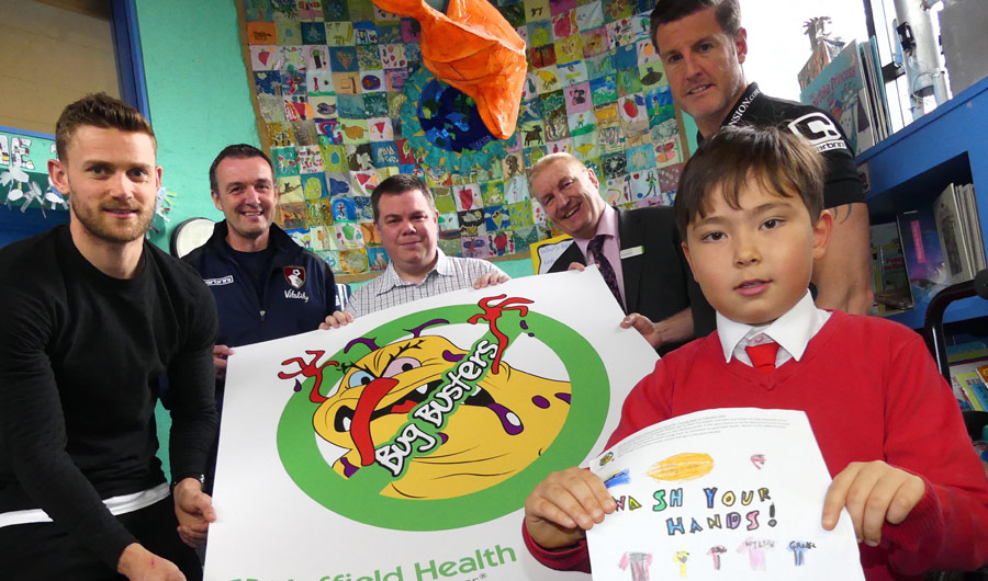 Bournemouth Hospital and Football Club deliver clear hand washing message