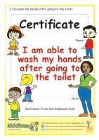 Hand washing certificate for children from Kiddiwash