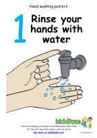 Washing hands sequence posters from Kiddiwash for preschool children