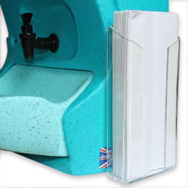 Plastic towel holder for a number of Teal mobile sinks