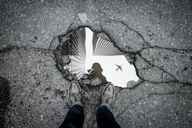 Photo reflection of an airplane