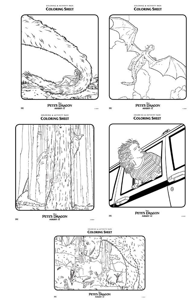Pete's Dragon colouring and activity sheets