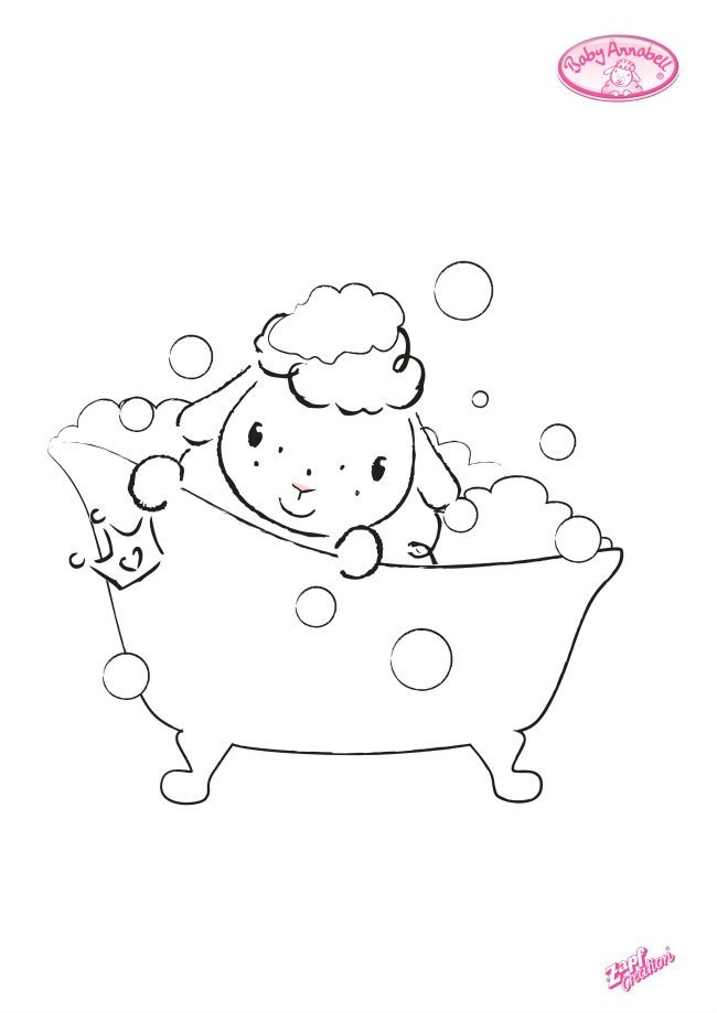 Baby Annabell cute sheep colouring pages