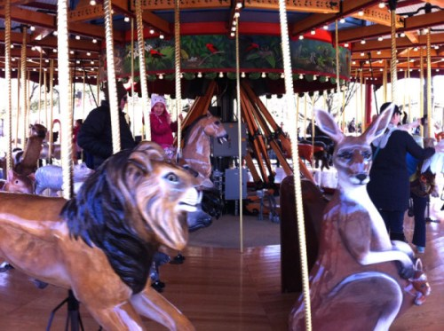 Going for a whirl on the carousel at the Zoo