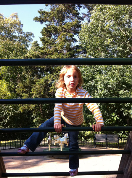 Getting her climb on at Montrose Park