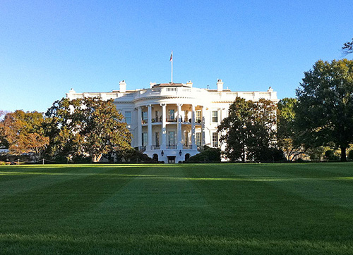 A view of the White House on the fall garden tour