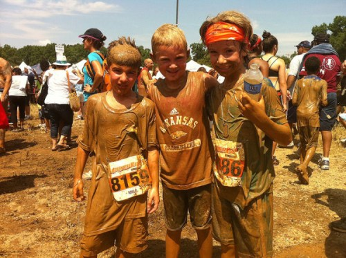 Owen and his buddies, Dylan and Cannon, after completing the Down & Dirty Adventure Kids Race