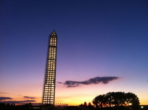The Monument at sunset; sometimes I think it looks better with scaffolding