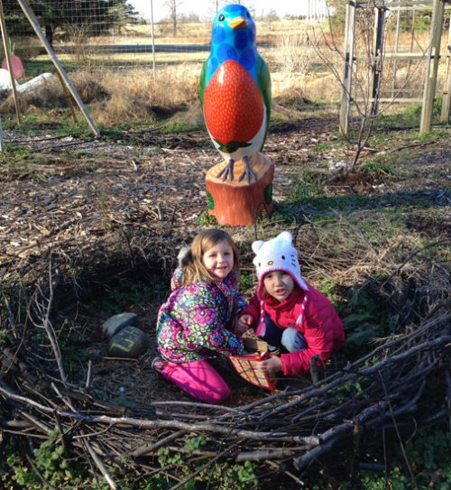 A couple of chicks playing in the giant nest at the Arboretum's Youth Garden