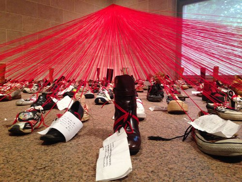 It's a shoe-in: If you're on the National Mall this weekend, stop in the Sackler Gallery to see this unique installation by Japanese artist Chiharu Shiota