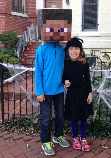 Minecraft Steve and Vampire Kitty say bring on Halloween!