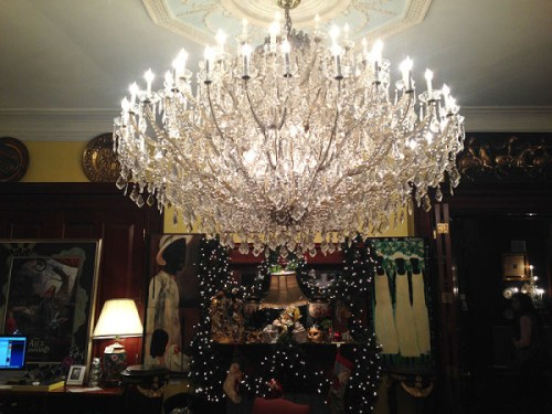 A beautiful chandelier is one of the first of many spectacular sights
