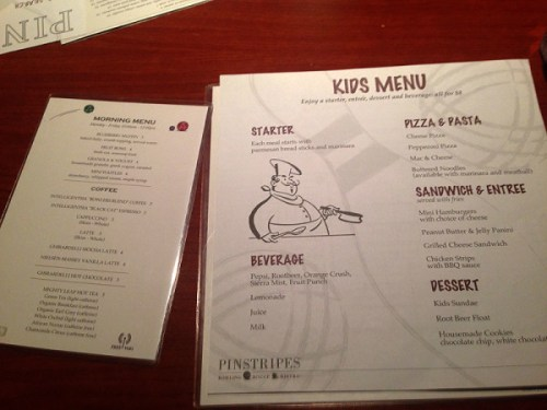Morning fare, and kiddies options in addition to an extensive main menu