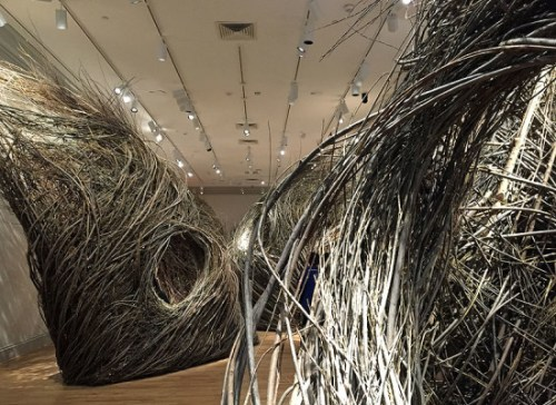 Shindig by Patrick Dougherty is like a room full of life-sized nests