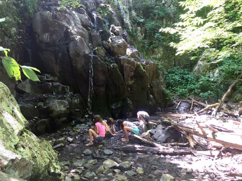 Keeping cool by a waterfall in Shenandoah National Park