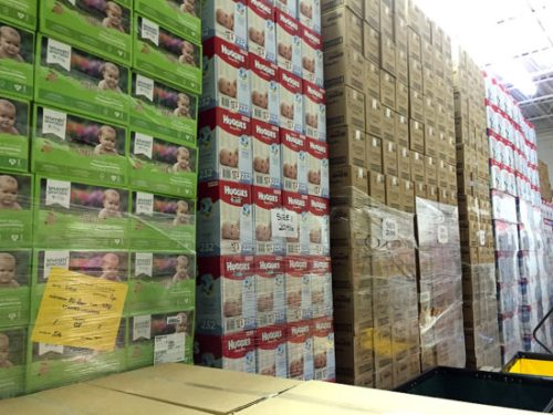 Diapers are often donated in original boxes then repackaged to fit more in each bundle