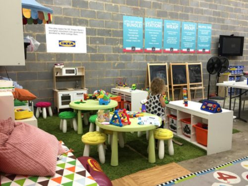 A sweet area for little kiddos to play while you volunteer
