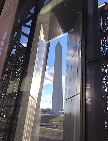 A view of the Washington Monument from the African American Museum