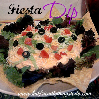 Fiesta Dip, a delicious dip that you can refrigerate until you're ready to serve