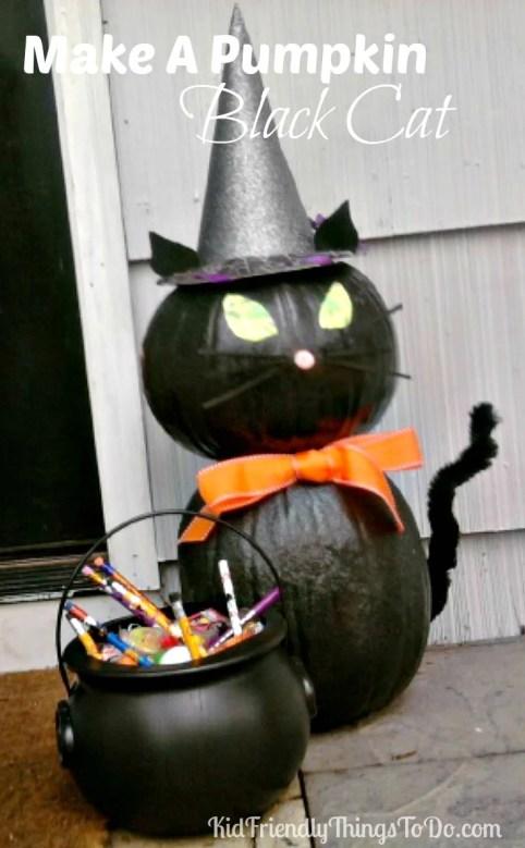 Make a pumpkin Black Cat Halloween Decoration - KidFriendlyThingsToDo.com