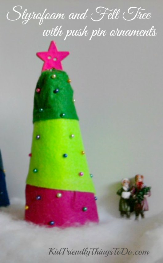 Easy Peasy Christmas Craft for kids! - Styrofoam Christmas tree with push pin ornaments - KidFriendlyThingsToDo.com
