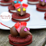 Chocolate Covered Cherry Valentine Mice On A Red Velvet Oreo Cookie