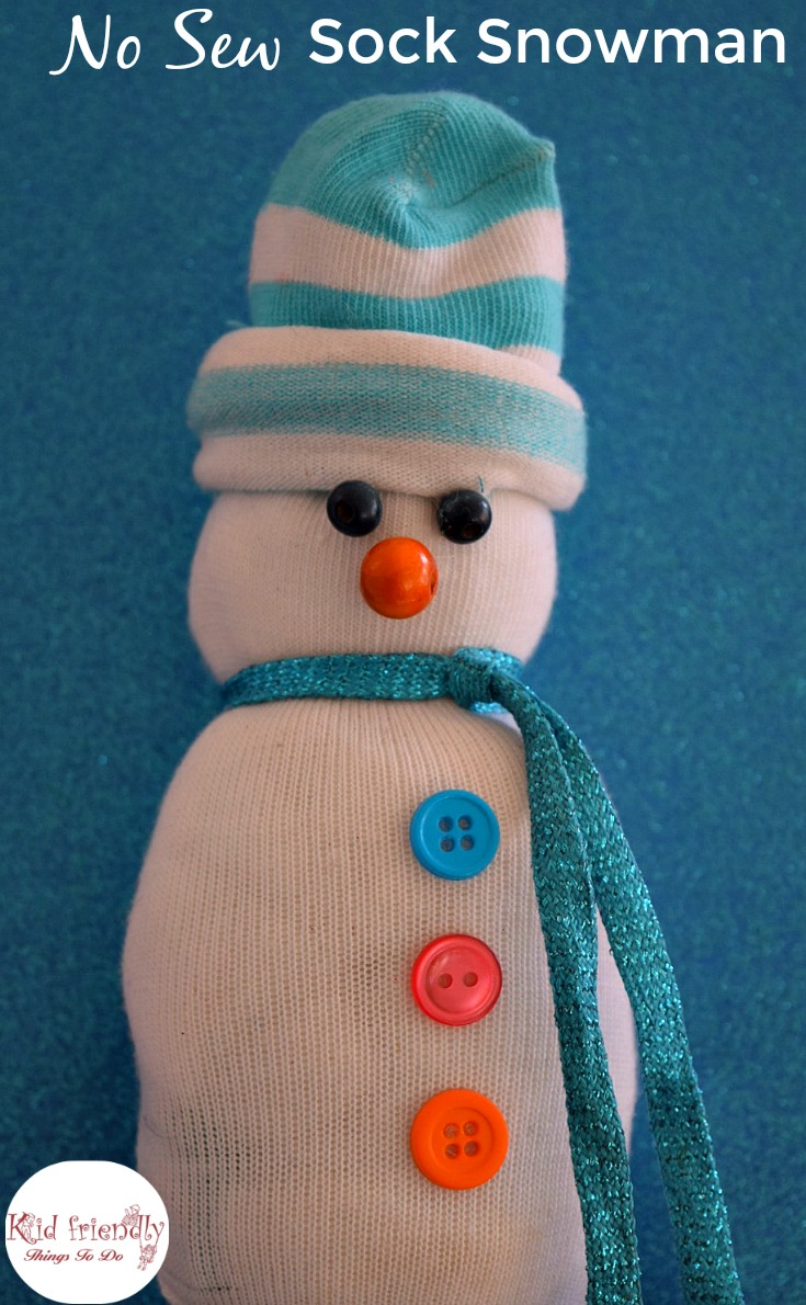 No Sew Sock Snowman A Cute Craft For Winter And Christmas With The Kids