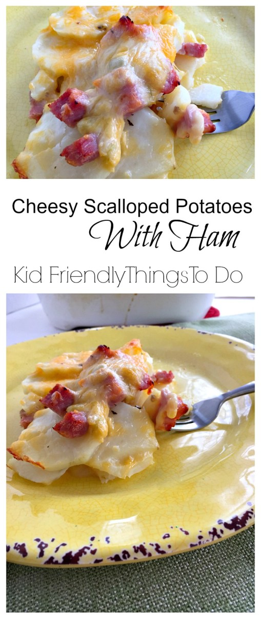 Easy Old Family Cookbook Recipe for Delicious Cheesy Scalloped Potatoes with Ham - KidFriendlyThingsToDo.com