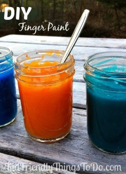 DIY homemade kid friendly finger paints! I love this fun activity! The kids were entertained for hours! So fun!