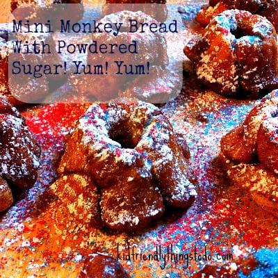 Mini Monkey Bread With Powdered Sugar