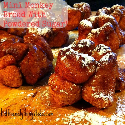 Mini Monkey Bread With Powdered Sugar