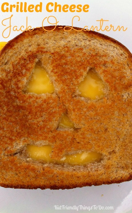 Grilled Cheese Jack-O-Lanterns for a Halloween Party Fun Food!