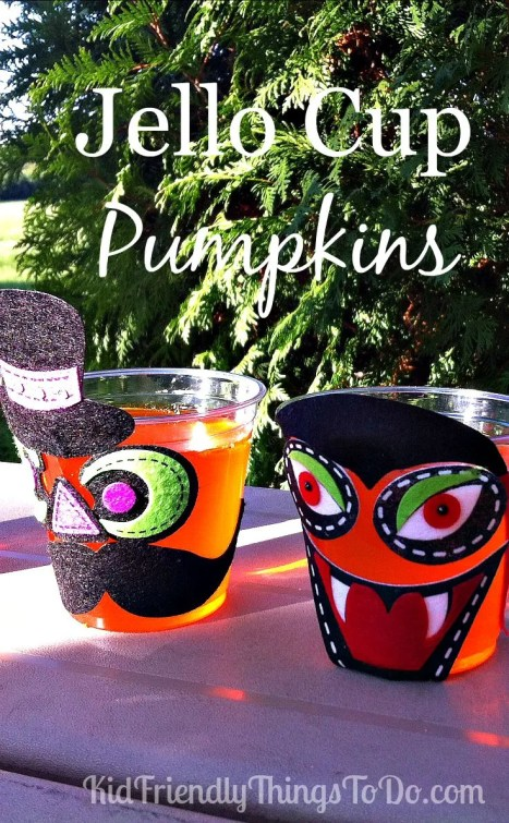 Decorate A Cup Of Jello As A Pumpkin - A Fun Party Craft! Easy, Peasy! Just hand the kids clear cups of orange jello, and let them decorate their treat as a pumpkin! Fun stuff!