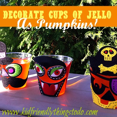 Turn simple orange jello into a fun Halloween craft! Hand out Pumpkin Decorating Stickers to the kids for a fun Halloween Party Treat!