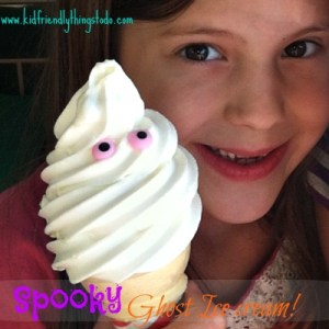 Add two eyeballs to vanilla ice cream, and call it SPOOKY GHOST ICE CREAM! The kids will go crazy for it! Fun & simple! Love it!