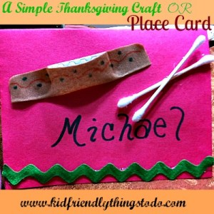 Make a simple Canoe out of a Band-Aid, and add Q-tips for Oars! This makes a cute place card for a kid's Thanksgiving table!