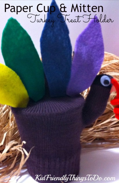 This Turkey Mitten craft covers a cup of treats! Great for Thanksgiving parties! - KidFriendlyThingsToDo.com