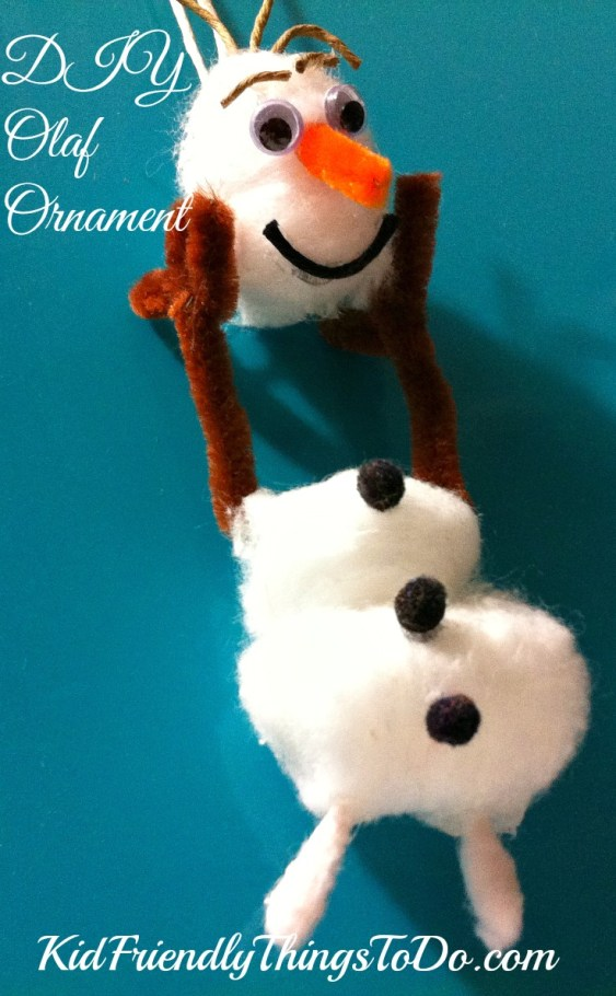 DIY Olaf Christmas Ornament craft - KidFriendlyThingsToDo.com
